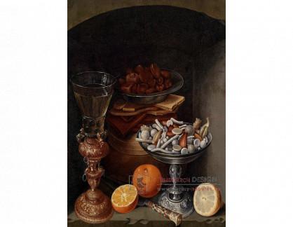 VN-283 Georg Flegel - Zátiší se sklenicí vína, pomeranči, talířem hub a stříbrnou mísou cukroví