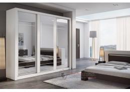 ARTI 02, šatní skříň s posuvnými dveřmi 250cm, bílá / zrcadla
