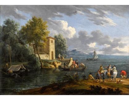 Krásné obrazy IV-498 Francesco Albotto - Pobřežní krajina s lodí a postavami
