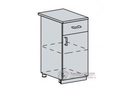 TECHNO, dolní skříňka 1-dveřová se zásuvkou 40D1S, bílá / oranžová metalic