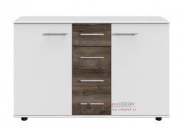 MIRABEL 704, komoda 2-dveřová se 4-mi zásuvkami 2D4S, bílá / dub bahenní