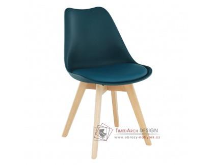 BALI 2 NEW, jídelní židle, buk / plast + ekokůže petrolejová