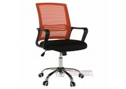 APOLO, kancelářské křeslo, plast černý / síťovina oranžov / látka černá