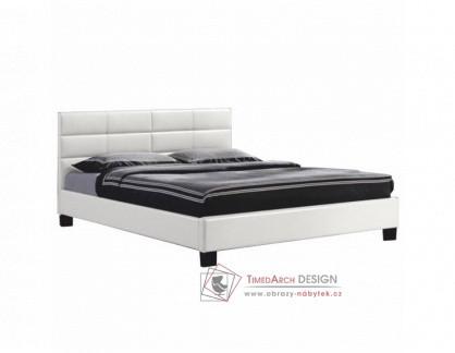 MIKEL, čalouněná postel 160x200cm, ekokůže bílá