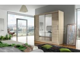 BEGGA II, šatní skříň s posuvnými dveřmi 180cm, dub sonoma / zrcadla