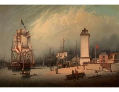 Slavné obrazy XIV-73 Robert Salmon - Maják v přístavu