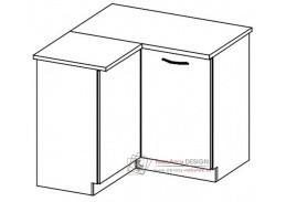 GREY, dolní skříňka rohová DRP - levá, šedá / šedý lesk