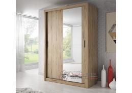 ARTI 04, šatní skříň s posuvnými dveřmi 150cm, dub shetland / zrcadlo