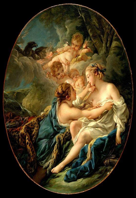 Francois Boucher - Jupiter v masce Diany a Callisto