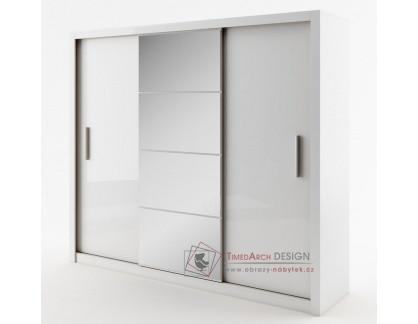 IDEA 01, šatní skříň s posuvnými dveřmi 250cm, bílá / zrcadlo