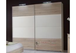MIRABEL 860, šatní skříň s posuvnými dveřmi 180cm, dub / bílá