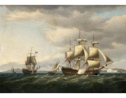 VANG277 Thomas Whitcombe - Salva z lodi Indiaman Rodney při návratu z Bengálska