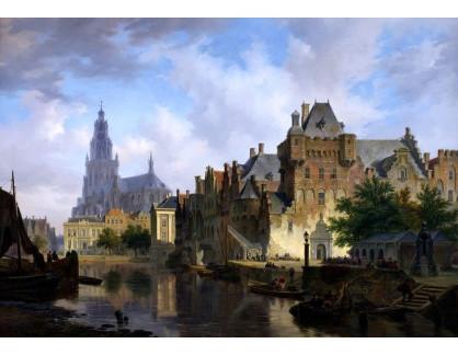 Slavné obrazy XVI-297 Bartholomeus Johannes van Hove - Panorama města