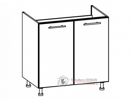 TIFFANY, kuchyňská dolní dřezová skříňka T24/D80Z bílá / bílý lesk