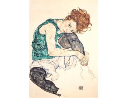 VES 157 Egon Schiele - Sedící žena s obnaženým kolenem