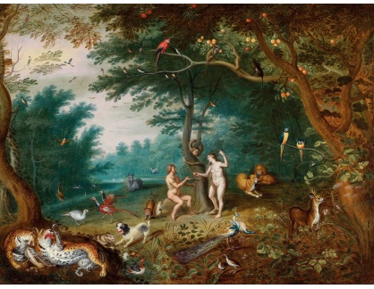 KO III-191 Jan Brueghel - Rajská zahrada a pád Adama a Evy