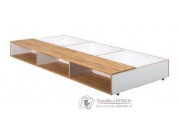WOODY, zásuvka pod postel, bílá / dub kraft zlatý
