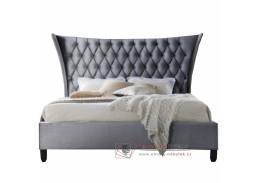 ALESIA, čalouněná postel 180x200cm, wenge / látka šedá