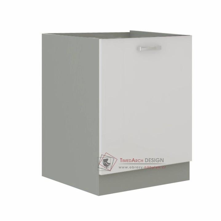 Dolní skříňka PRADO 60 D 1F BB šedá / vysoký lesk bílý