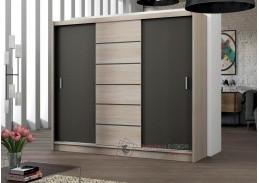 Šatní skříň s posuvnými dveřmi 250cm SEWILLA, dub sonoma / láva