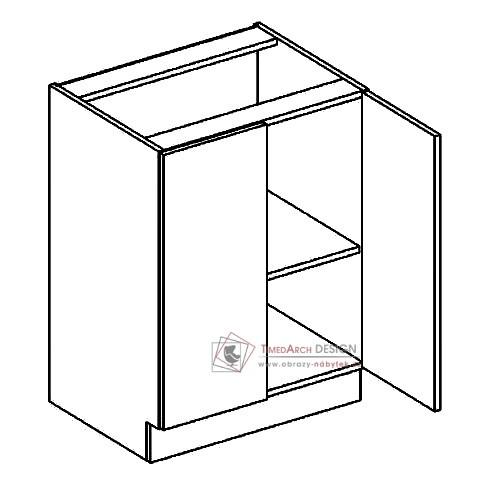 Dolní skříňka dvoudvéřová D60 POSNANIA šedá / tmavé zebrano