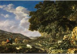 DDSO-1467 Abraham Begeyn - Krajina s velkým dubem a pastýři ovcí a koz
