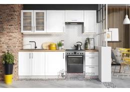FARLEY, kuchyně 240cm, šedá / bílý lesk