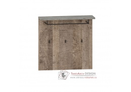 BARI, věšákový panel 80, šedá / dub pískový