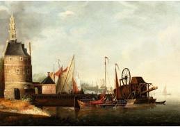 D-9232 Abraham Storck - Pohled na přístav v Amsterdamu