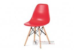 CT-758 RED, jídelní židle, buk / plast červený