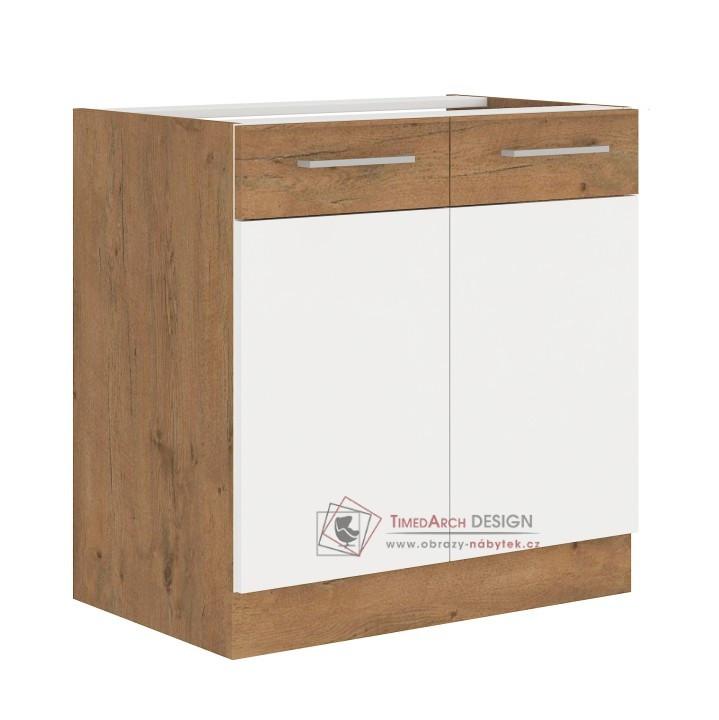 Dolní kuchyňská skříňka VEGA 80 D 2F BB dub lancelot / bílá extra vysoký lesk HG