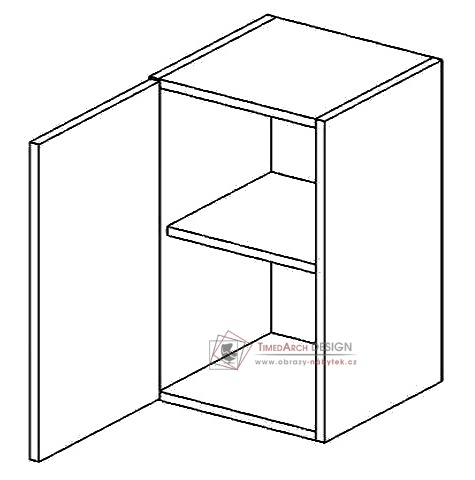 Horní skříňka jednodvéřová W50L PREMIUM de LUX hruška - levá