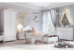 POLONA, sestava nábytku do dětského pokoje, bílá / růžová