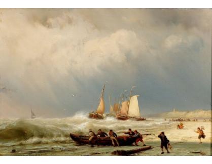 Slavné obrazy IX DDSO-684 Johannes Hermanus Koekkoek - Rybáři na pláži