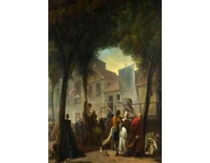 Slavné obrazy XVII-206 Gabriel-Jacques de Saint-Aubi - Scéna z ulice Paříže