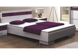 DUBAJ, postel 160x200cm, bílá / fialové sklo