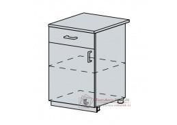 VERONA, dolní skříňka 1-dveřová se zásuvkou 60D1D1S, bílá / zlatý jasan