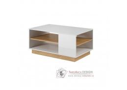 CITY, konferenční stolek, bílá / dub grandson / bílý lesk