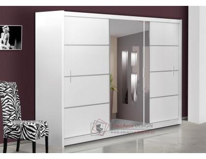 VISTA, šatní skříň s posuvnými dveřmi 250cm, bílá / zrcadlo