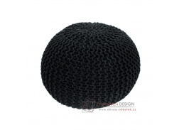 Pletený taburet 50x50x35cm GOBI typ 2 černá bavlna