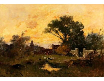 Slavné obrazy III-DDSO-576 Eugene Galien-Laloue - Scéna za soumraku v přírodě