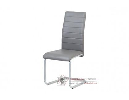 DCL-102 GREY, jídelní židle, šedý lak / ekokůže šedá