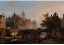 Slavné obrazy VI-11 Bartholomeus Johannes van Hove - Starý kanál v Utrechtu