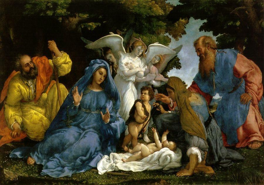 VLL 13 Lorenzo Lotto - Svatá rodina, anděl a svatí