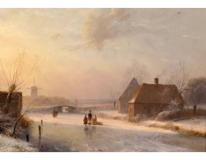 Slavné obrazy XVI-161 Andreas Schelfhout - Holandská zimní krajina