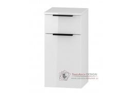 LONGFORD, dolní koupelnová skříňka D30S/1 P/L s PD, bílá / bílý lesk