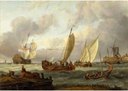 DDSO-3054 Abraham Storck - Holandské lodě u vstupu do přístavu