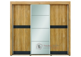YORK Y09, šatní skříň s posuvnými dveřmi 223cm, dub granson / grafit / zrcadlo
