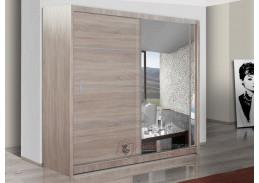 VISTA, šatní skříň s posuvnými dveřmi 203cm, dub sonoma / zrcadlo