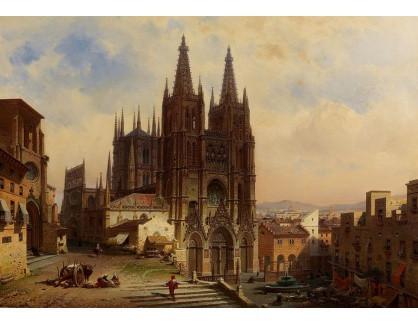Slavné obrazy III-DDSO-626 Friedrich Eibner - Pohled na katedrálu v Burgosu